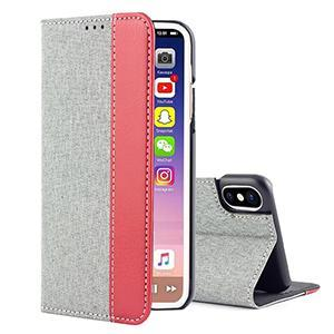 Dustproof Fabric Card Slot Flip Cover Phone Case iPhone X Case